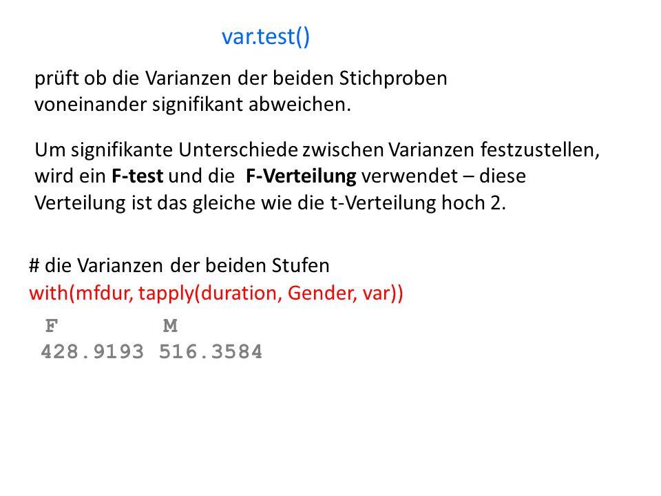 var.test() prüft ob die Varianzen der beiden Stichproben voneinander signifikant abweichen. Um signifikante Unterschiede zwischen Varianzen festzustel