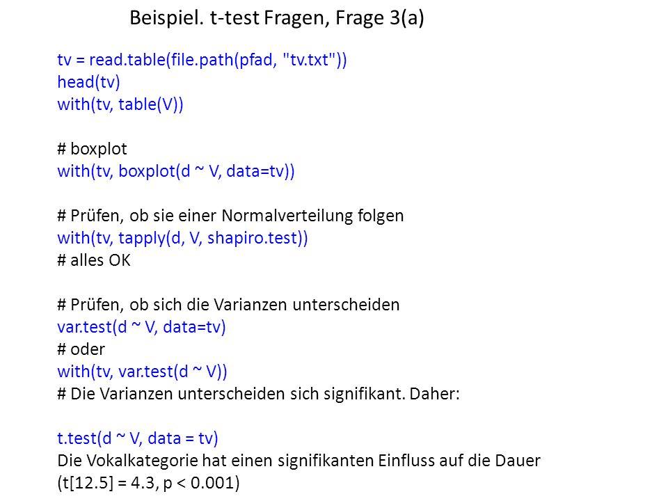 Beispiel. t-test Fragen, Frage 3(a) tv = read.table(file.path(pfad,
