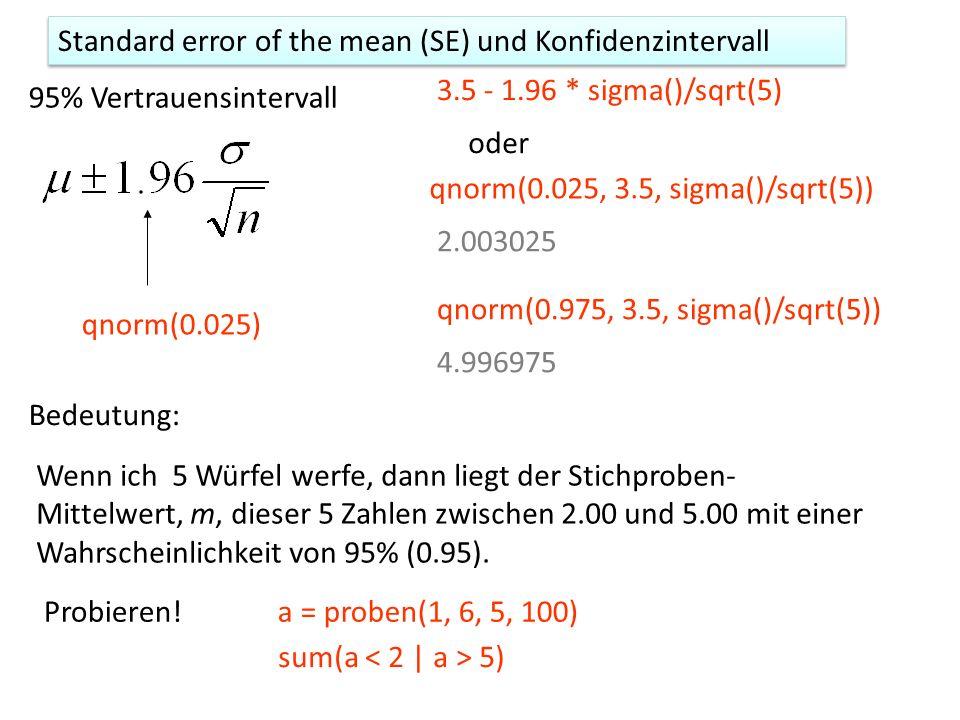Die t-test() Funktion > t.test(x, y, var.equal=T) data: x and y t = 2.1223, df = 18, p-value = 0.04794 alternative hypothesis: true difference in means is not equal to 0 95 percent confidence interval: 0.03094282 6.11047132 sample estimates: mean of x mean of y 18.88889 15.81818 Die Wahrscheinlichkeit, dass mx – my = 0 (Null) 95% Vertrauensintervall t=2.1223 bedeutet: (mx – my) und 0 sind 2.1223 Standardabweichungen voneinander entfernt d = mean(x) - mean(y) d - 0 [1] 3.070707 SEhut 1.446872 d/SEhut [1] 2.122308
