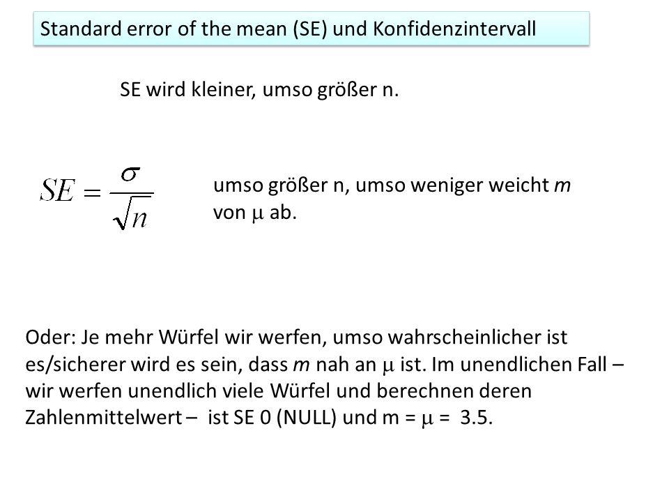 Standard error of the mean (SE) wenn unbekannt ist.