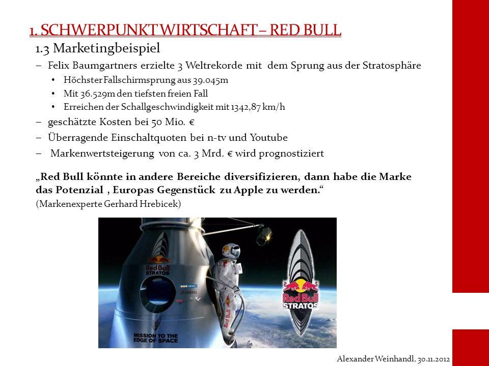 1. SCHWERPUNKT WIRTSCHAFT – RED BULL 1.3 Marketingbeispiel Felix Baumgartners erzielte 3 Weltrekorde mit dem Sprung aus der Stratosphäre Höchster Fall