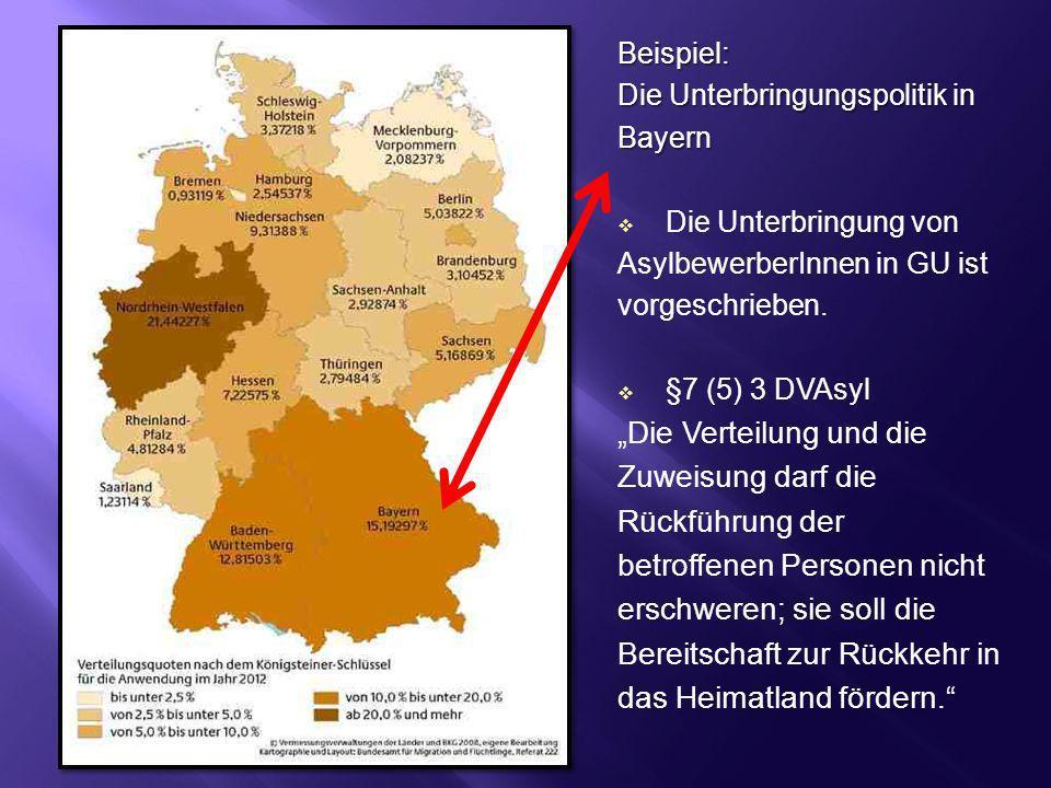 Beispiel: Die Unterbringungspolitik in Bayern Die Unterbringung von AsylbewerberInnen in GU ist vorgeschrieben. §7 (5) 3 DVAsyl Die Verteilung und die