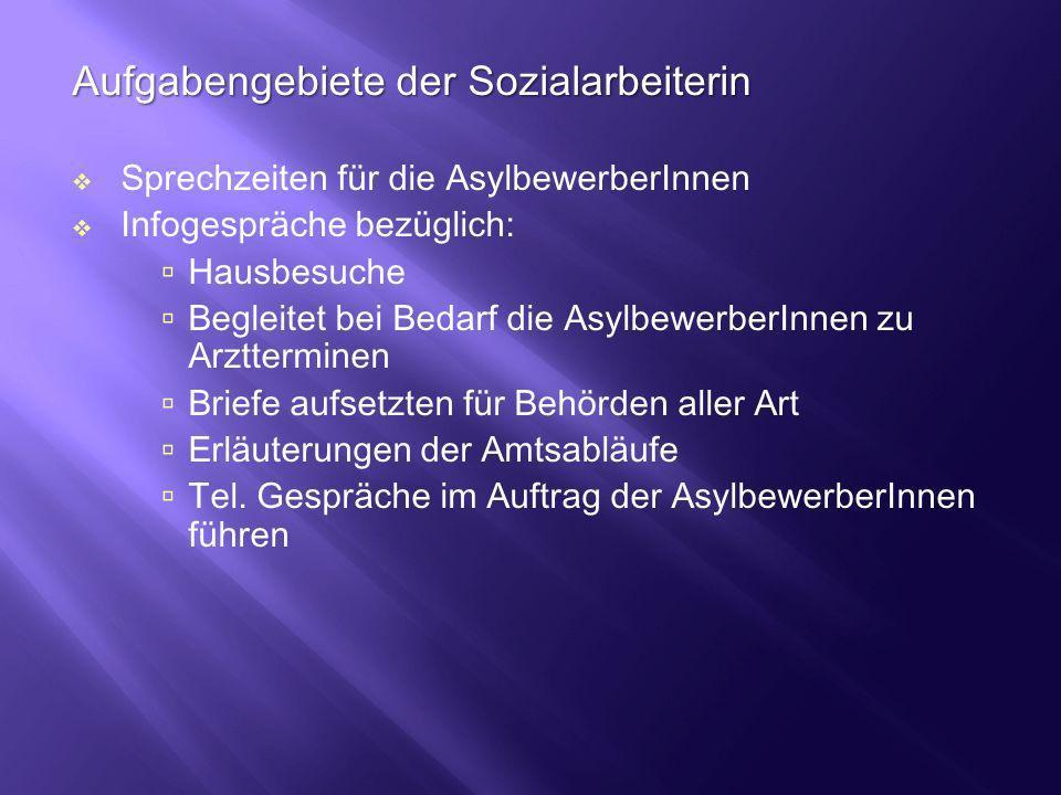 Aufgabengebiete der Sozialarbeiterin Sprechzeiten für die AsylbewerberInnen Infogespräche bezüglich: Hausbesuche Begleitet bei Bedarf die Asylbewerber