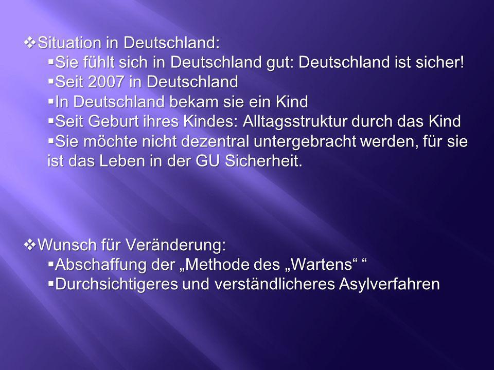 Situation in Deutschland: Situation in Deutschland: Sie fühlt sich in Deutschland gut: Deutschland ist sicher! Sie fühlt sich in Deutschland gut: Deut