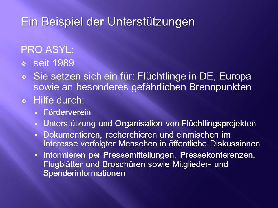Ein Beispiel der Unterstützungen PRO ASYL: seit 1989 Sie setzen sich ein für: Flüchtlinge in DE, Europa sowie an besonderes gefährlichen Brennpunkten