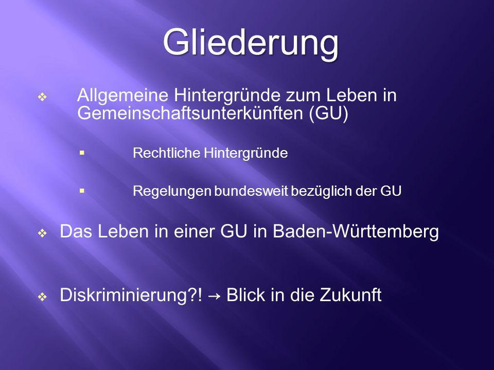 Gliederung Allgemeine Hintergründe zum Leben in Gemeinschaftsunterkünften (GU) Rechtliche Hintergründe Regelungen bundesweit bezüglich der GU Das Lebe