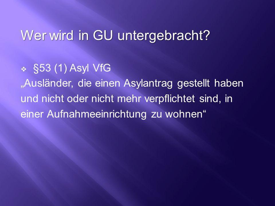 Wer wird in GU untergebracht? §53 (1) Asyl VfG Ausländer, die einen Asylantrag gestellt haben und nicht oder nicht mehr verpflichtet sind, in einer Au
