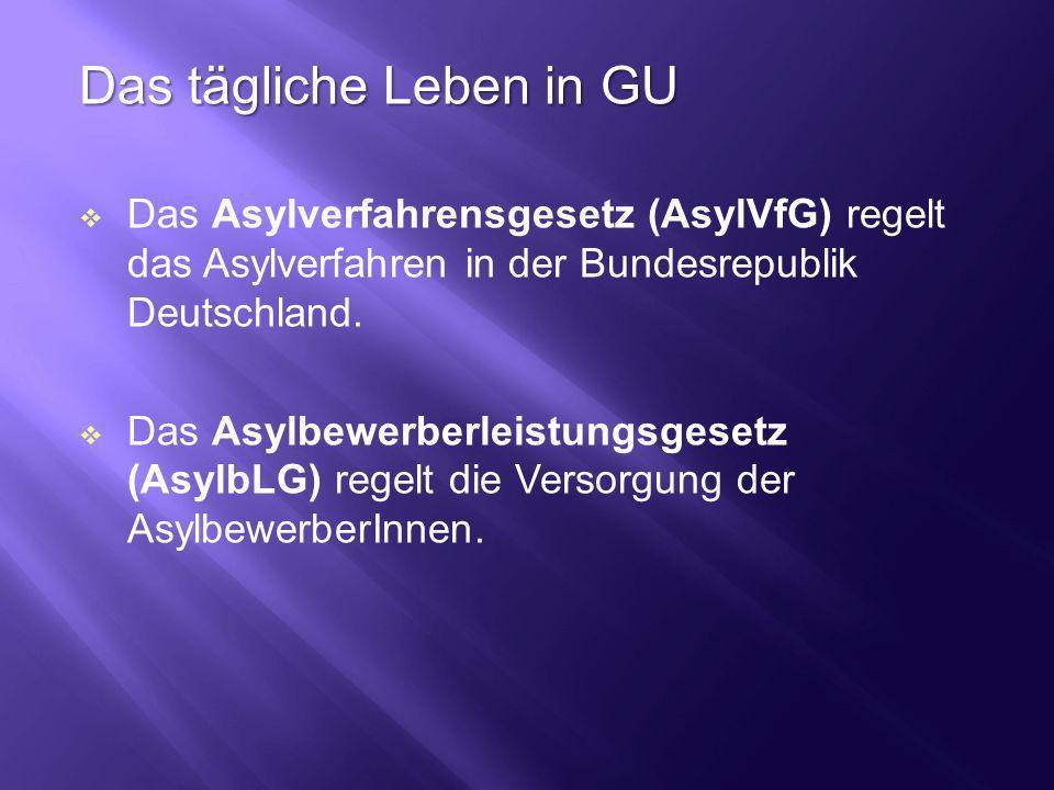 Das tägliche Leben in GU Das Asylverfahrensgesetz (AsylVfG) regelt das Asylverfahren in der Bundesrepublik Deutschland. Das Asylbewerberleistungsgeset