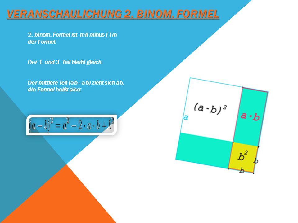 VERANSCHAULICHUNG 2. BINOM. FORMEL 2. binom. Formel ist mit minus (-) in der Formel. Der 1. und 3. Teil bleibt gleich. Der mittlere Teil (a·b - a·b) z