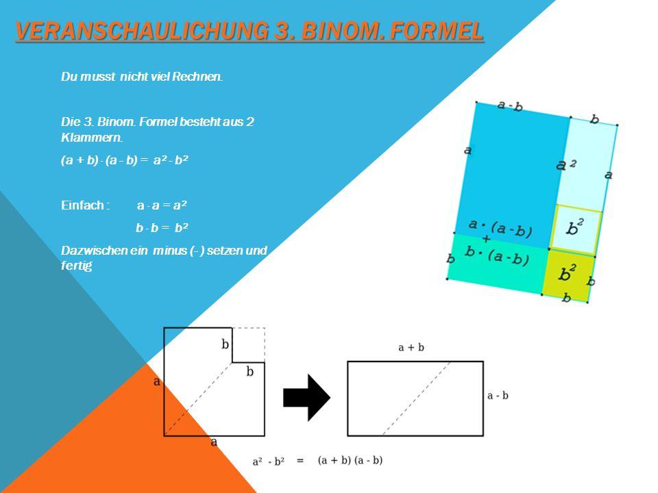 VERANSCHAULICHUNG 3. BINOM. FORMEL Du musst nicht viel Rechnen. Die 3. Binom. Formel besteht aus 2 Klammern. (a + b) · (a - b) = a² - b² Einfach : a ·