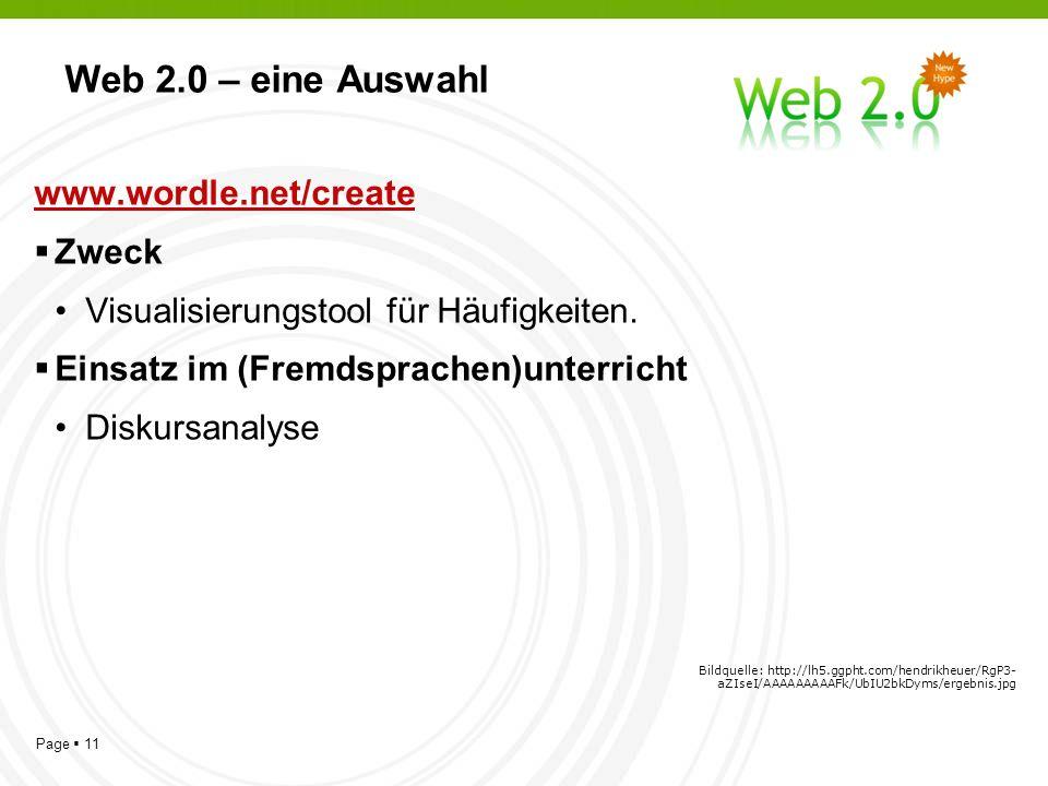 Page 11 Web 2.0 – eine Auswahl www.wordle.net/create Zweck Visualisierungstool für Häufigkeiten.