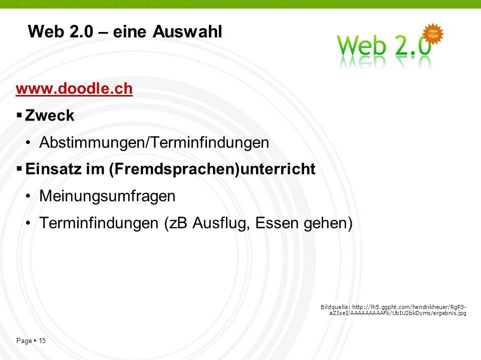Page 15 Web 2.0 – eine Auswahl www.doodle.ch Zweck Abstimmungen/Terminfindungen Einsatz im (Fremdsprachen)unterricht Meinungsumfragen Terminfindungen (zB Ausflug, Essen gehen) Bildquelle: http://lh5.ggpht.com/hendrikheuer/RgP3- aZIseI/AAAAAAAAAFk/UbIU2bkDyms/ergebnis.jpg