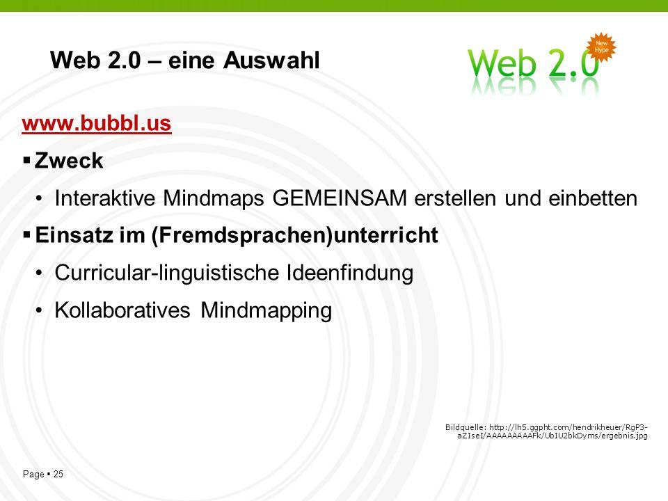 Page 25 Web 2.0 – eine Auswahl www.bubbl.us Zweck Interaktive Mindmaps GEMEINSAM erstellen und einbetten Einsatz im (Fremdsprachen)unterricht Curricular-linguistische Ideenfindung Kollaboratives Mindmapping Bildquelle: http://lh5.ggpht.com/hendrikheuer/RgP3- aZIseI/AAAAAAAAAFk/UbIU2bkDyms/ergebnis.jpg