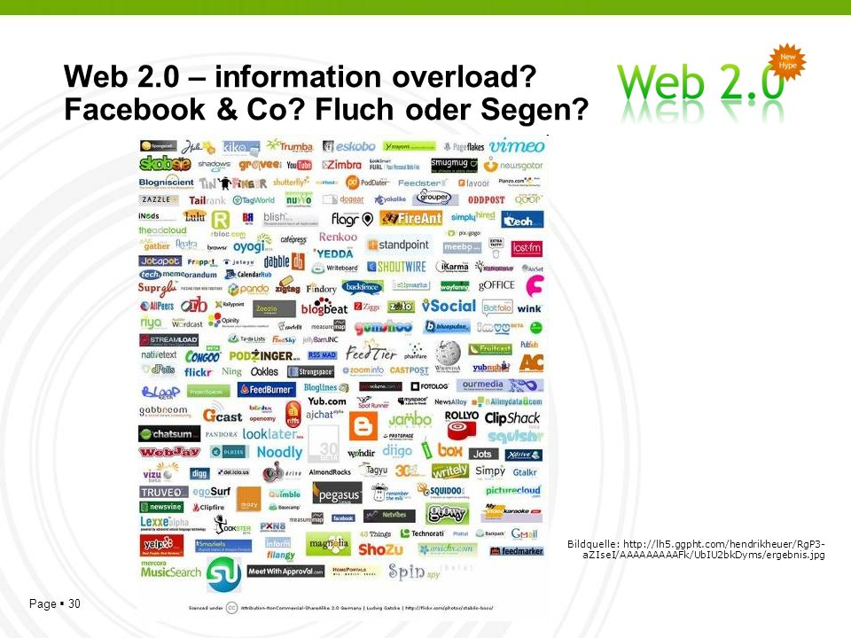 Page 30 Web 2.0 – information overload. Facebook & Co.