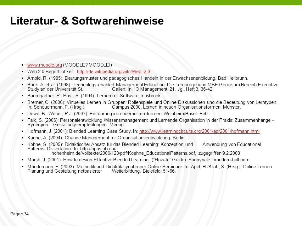 Page 34 Literatur- & Softwarehinweise www.moodle.org (MOODLE.