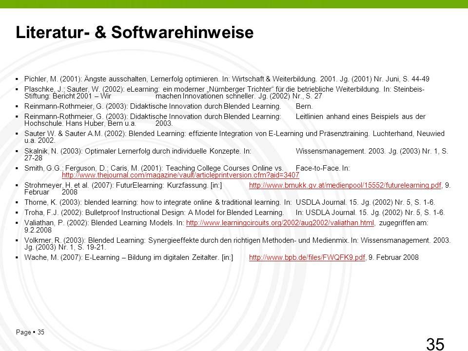 Page 35 Literatur- & Softwarehinweise Pichler, M.