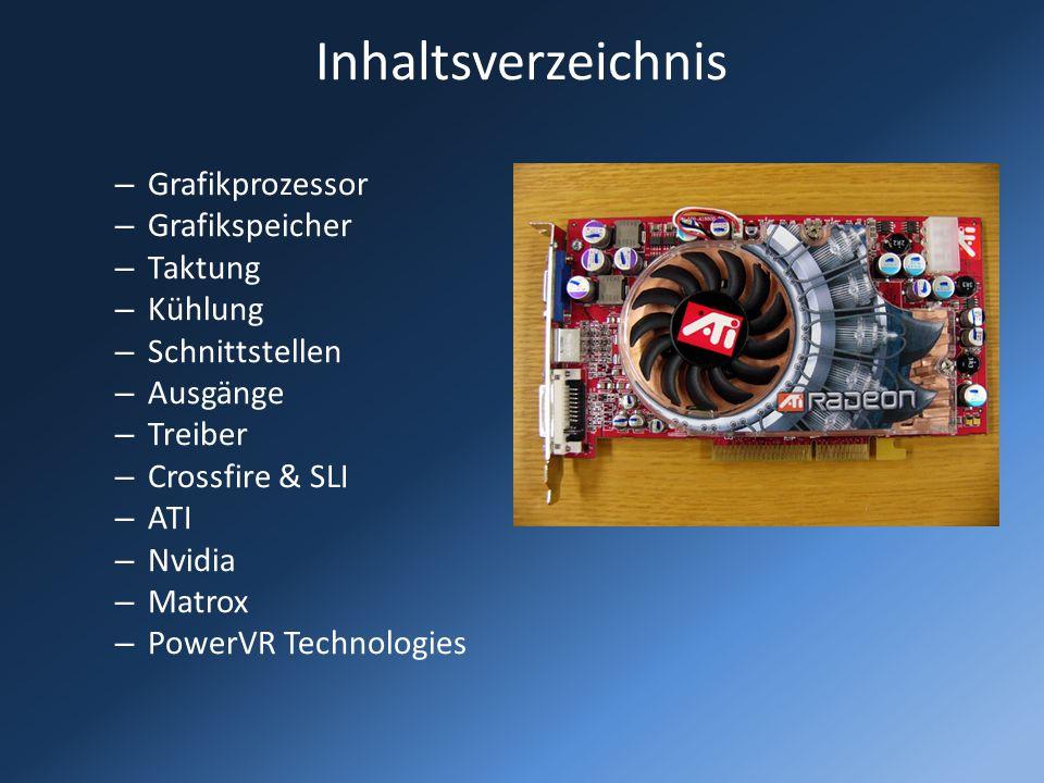 Inhaltsverzeichnis – Grafikprozessor – Grafikspeicher – Taktung – Kühlung – Schnittstellen – Ausgänge – Treiber – Crossfire & SLI – ATI – Nvidia – Mat