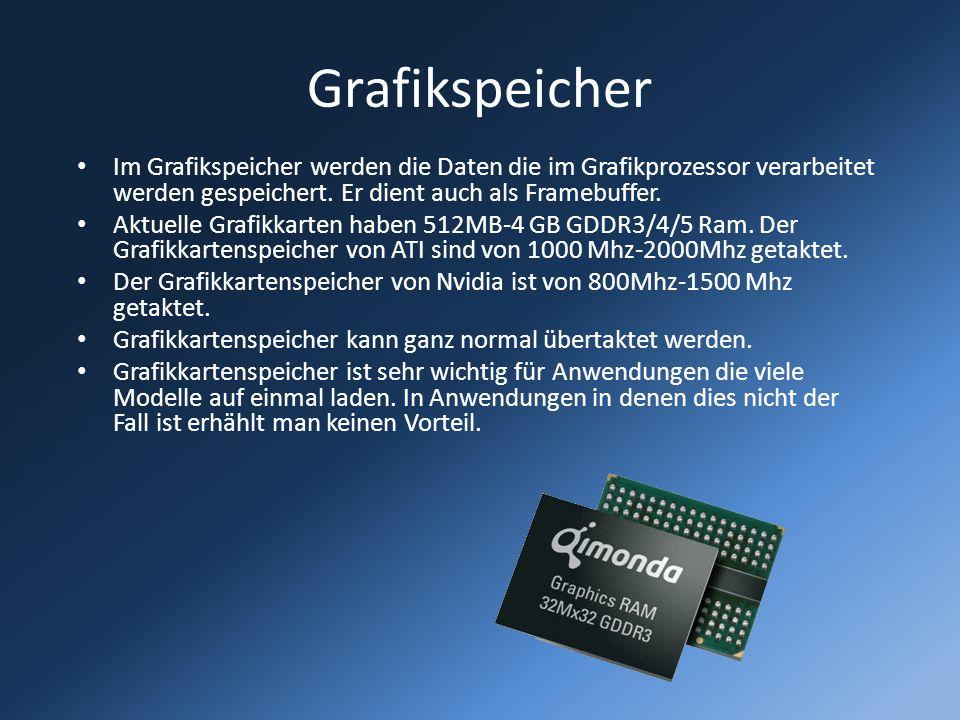 Grafikspeicher Im Grafikspeicher werden die Daten die im Grafikprozessor verarbeitet werden gespeichert. Er dient auch als Framebuffer. Aktuelle Grafi