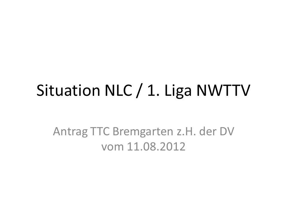 Situation NLC / 1. Liga NWTTV Antrag TTC Bremgarten z.H. der DV vom 11.08.2012