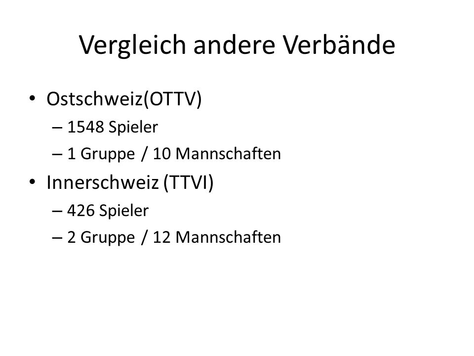 Vergleich andere Verbände Ostschweiz(OTTV) – 1548 Spieler – 1 Gruppe / 10 Mannschaften Innerschweiz (TTVI) – 426 Spieler – 2 Gruppe / 12 Mannschaften