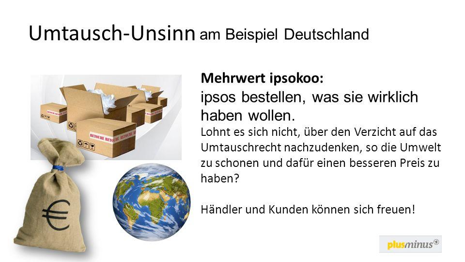 Umtausch-Unsinn Mehrwert ipsokoo: ipsos bestellen, was sie wirklich haben wollen. Lohnt es sich nicht, über den Verzicht auf das Umtauschrecht nachzud