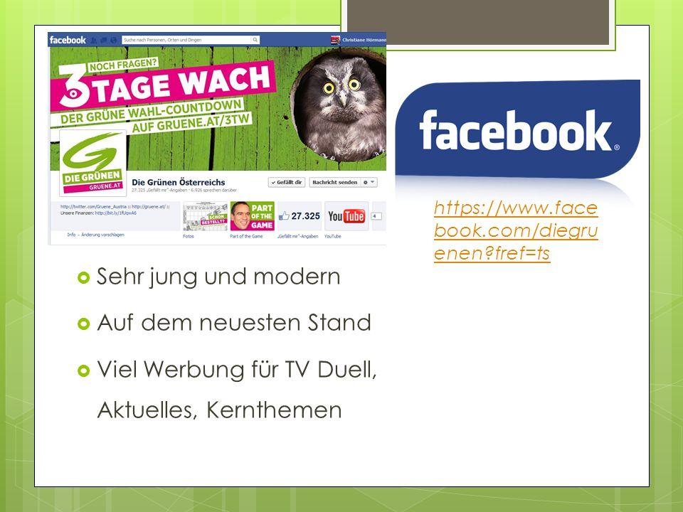 Sehr jung und modern Auf dem neuesten Stand Viel Werbung für TV Duell, Aktuelles, Kernthemen https://www.face book.com/diegru enen?fref=ts