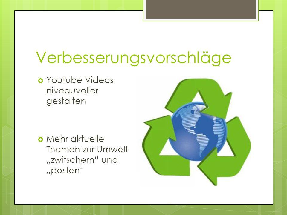 Verbesserungsvorschläge Youtube Videos niveauvoller gestalten Mehr aktuelle Themen zur Umwelt zwitschern und posten