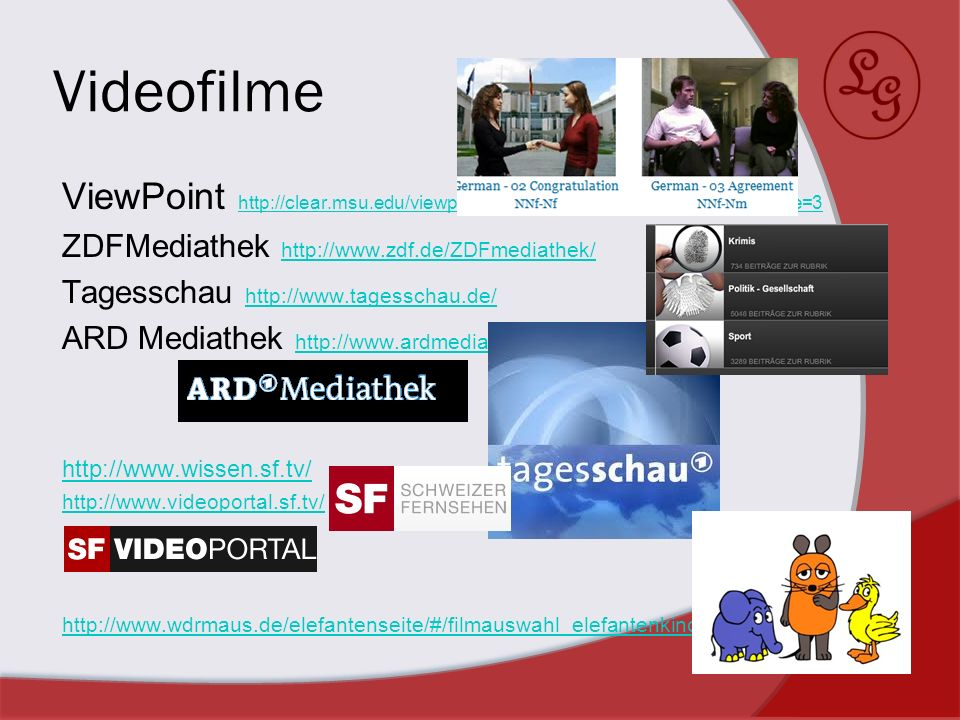 Videofilme ViewPoint http://clear.msu.edu/viewpoint/ourvideos.php?txtTitle=&selLanguage=3 http://clear.msu.edu/viewpoint/ourvideos.php?txtTitle=&selLa