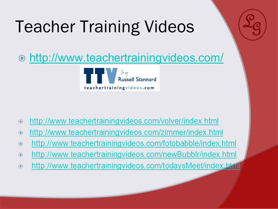 Teacher Training Videos http://www.teachertrainingvideos.com/ http://www.teachertrainingvideos.com/volver/index.html http://www.teachertrainingvideos.