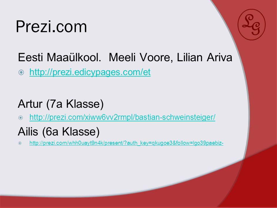 Prezi.com Eesti Maaülkool. Meeli Voore, Lilian Ariva http://prezi.edicypages.com/et Artur (7a Klasse) http://prezi.com/xiww6vv2rmpl/bastian-schweinste