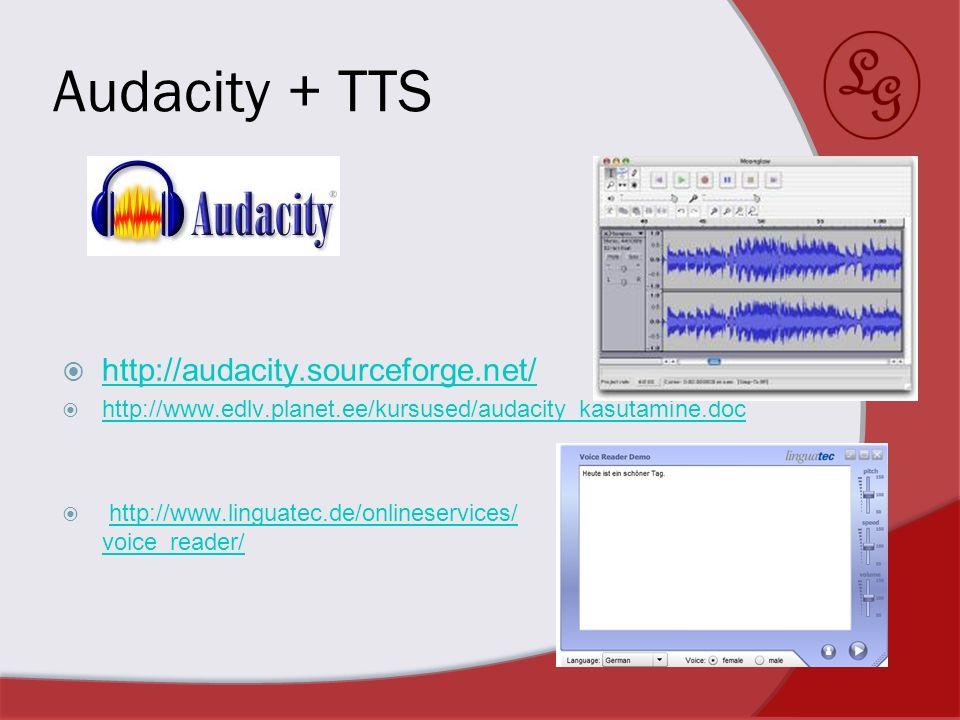 Audacity + TTS http://audacity.sourceforge.net/ http://www.edlv.planet.ee/kursused/audacity_kasutamine.doc http://www.linguatec.de/onlineservices/ voi