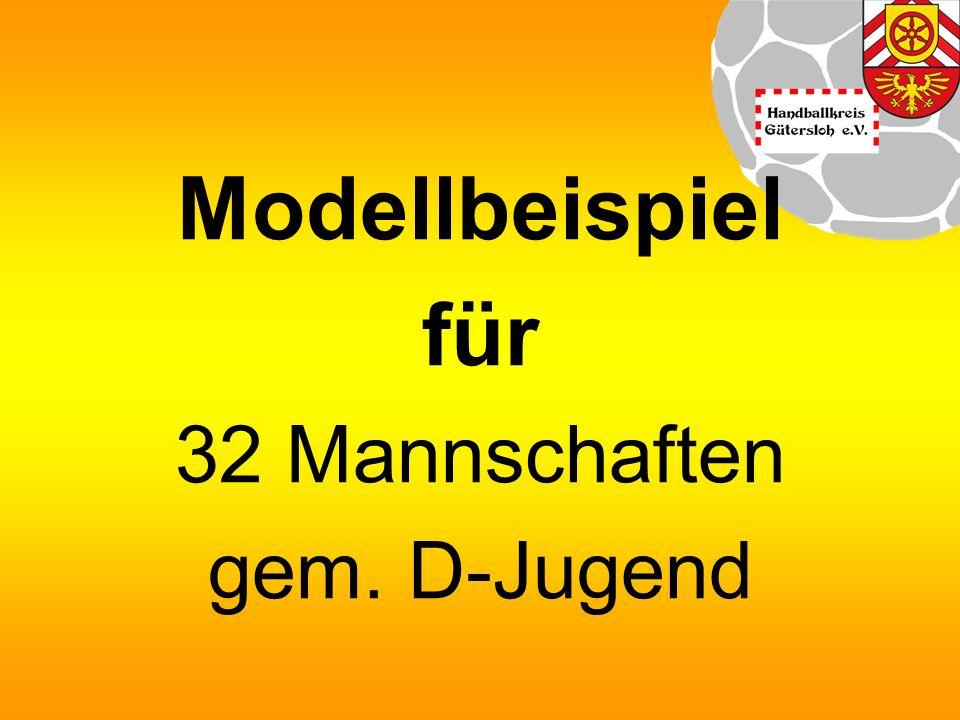 Modellbeispiel für 32 Mannschaften gem. D-Jugend