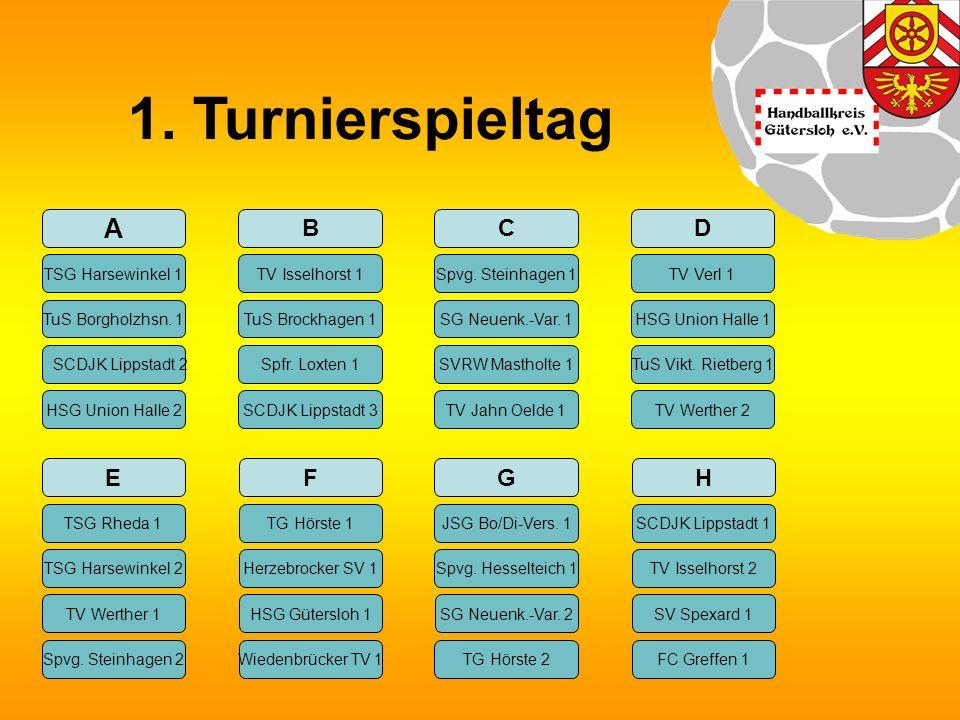 1. Turnierspieltag A B TSG Harsewinkel 1 TV Isselhorst 1 TuS Borgholzhsn.