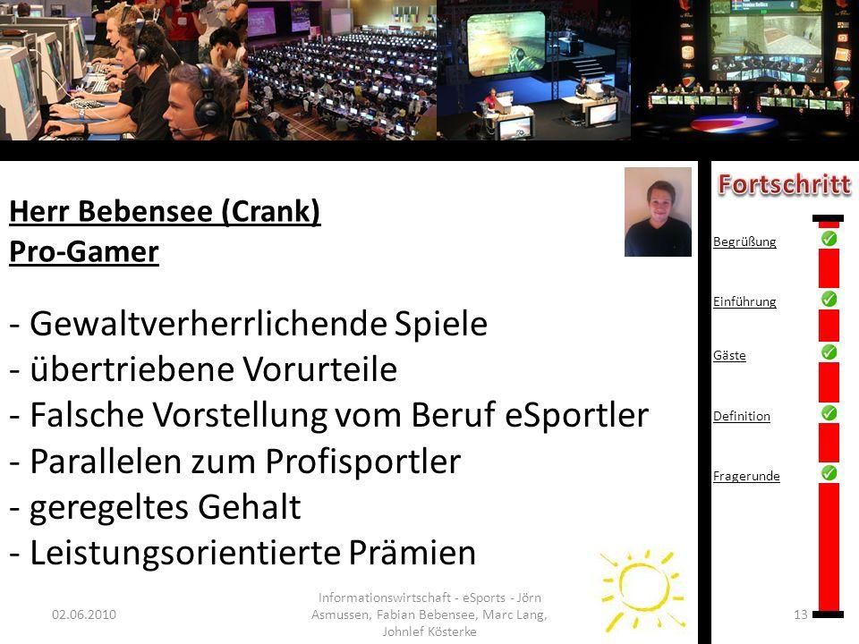 Herr Bebensee (Crank) Pro-Gamer 02.06.201013 Informationswirtschaft - eSports - Jörn Asmussen, Fabian Bebensee, Marc Lang, Johnlef Kösterke - Gewaltve