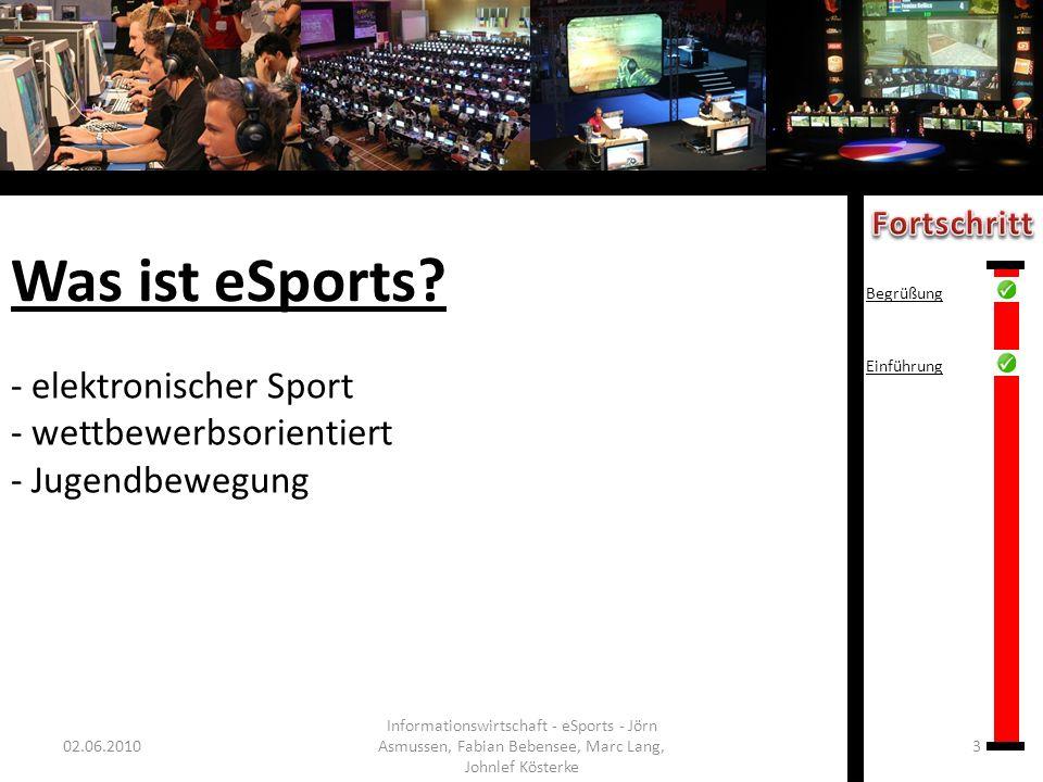 Was ist eSports? - elektronischer Sport - wettbewerbsorientiert - Jugendbewegung 02.06.20103 Informationswirtschaft - eSports - Jörn Asmussen, Fabian