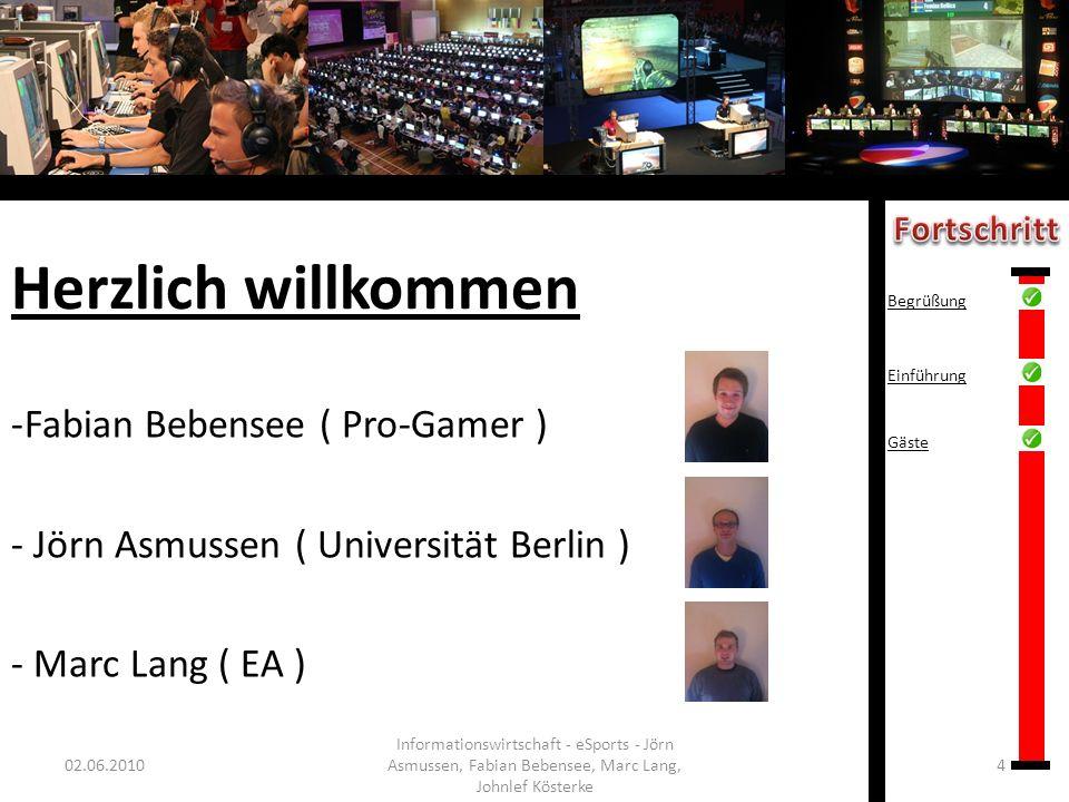 Herzlich willkommen -Fabian Bebensee ( Pro-Gamer ) - Jörn Asmussen ( Universität Berlin ) - Marc Lang ( EA ) 02.06.20104 Informationswirtschaft - eSpo