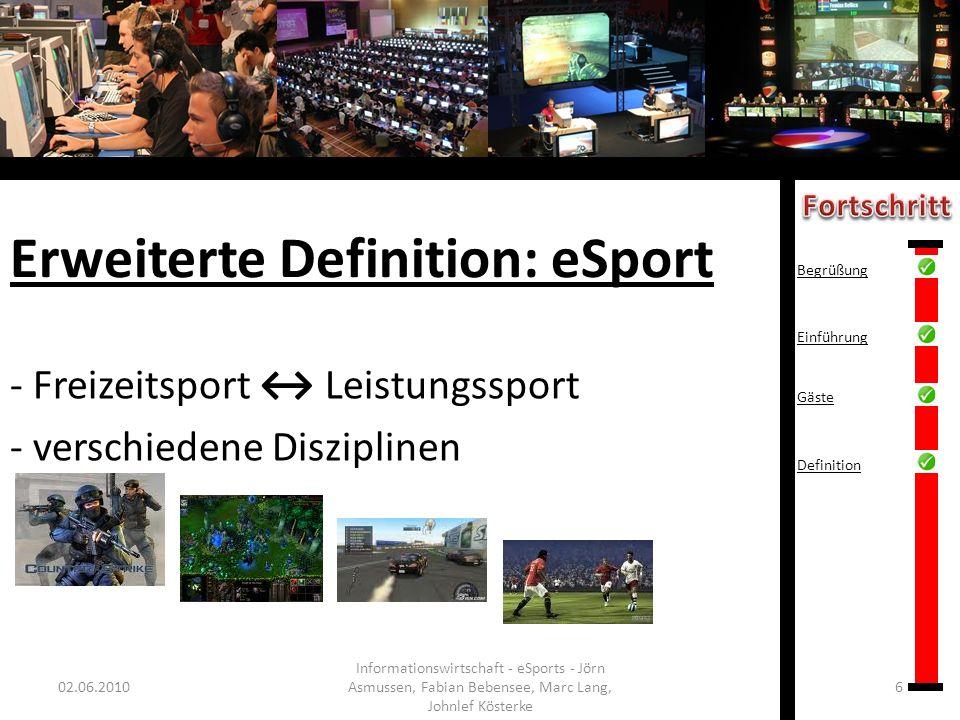 Erweiterte Definition: eSport - Freizeitsport Leistungssport - verschiedene Disziplinen 02.06.20106 Informationswirtschaft - eSports - Jörn Asmussen,