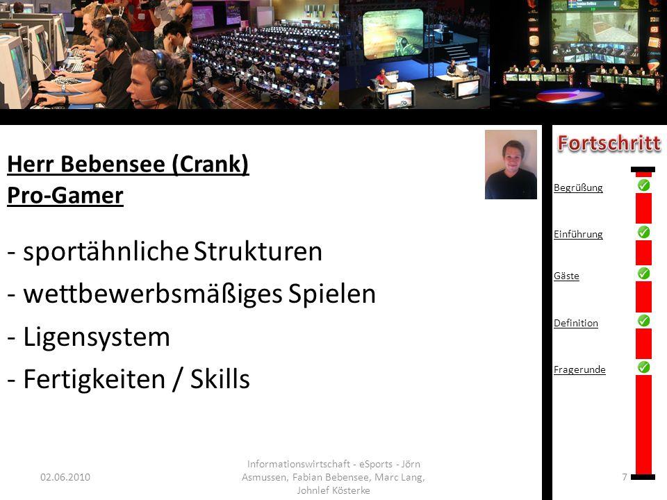 Herr Bebensee (Crank) Pro-Gamer 02.06.20107 Informationswirtschaft - eSports - Jörn Asmussen, Fabian Bebensee, Marc Lang, Johnlef Kösterke - sportähnl