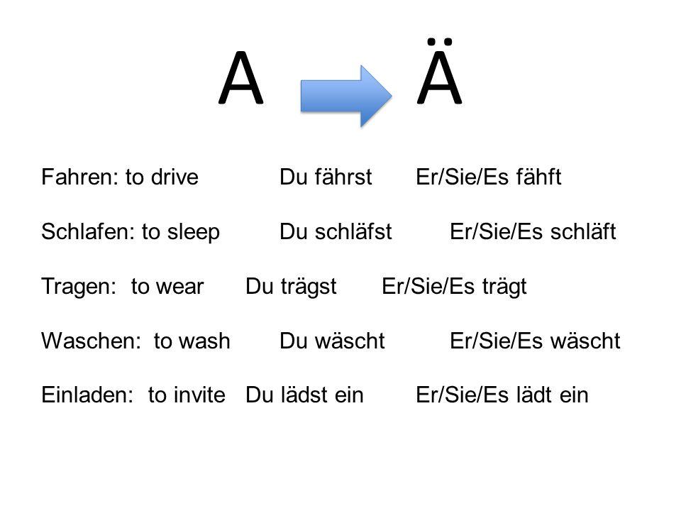 A Ä Fahren: to drive Du fährstEr/Sie/Es fähft Schlafen: to sleepDu schläfstEr/Sie/Es schläft Tragen: to wearDu trägstEr/Sie/Es trägt Waschen: to washDu wäschtEr/Sie/Es wäscht Einladen: to inviteDu lädst einEr/Sie/Es lädt ein