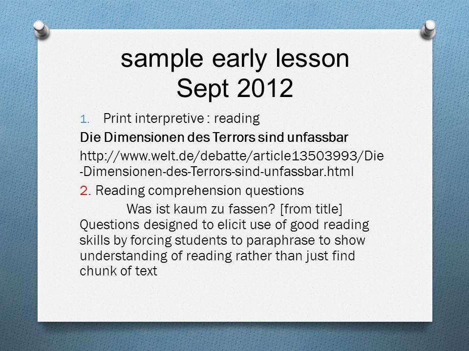 sample early lesson Sept 2012- first section of text Terrorismus hat nicht allein islamistische Wurzeln.