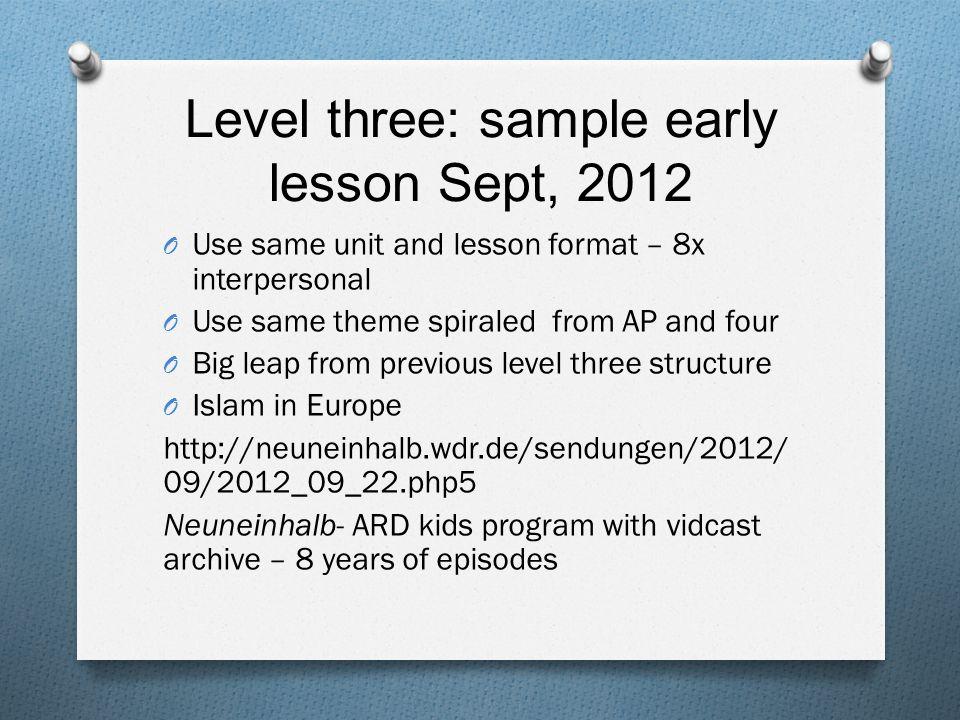Level 3- audio/visual interpretive 1.Theme: Familie und Gemeinschaft 2.