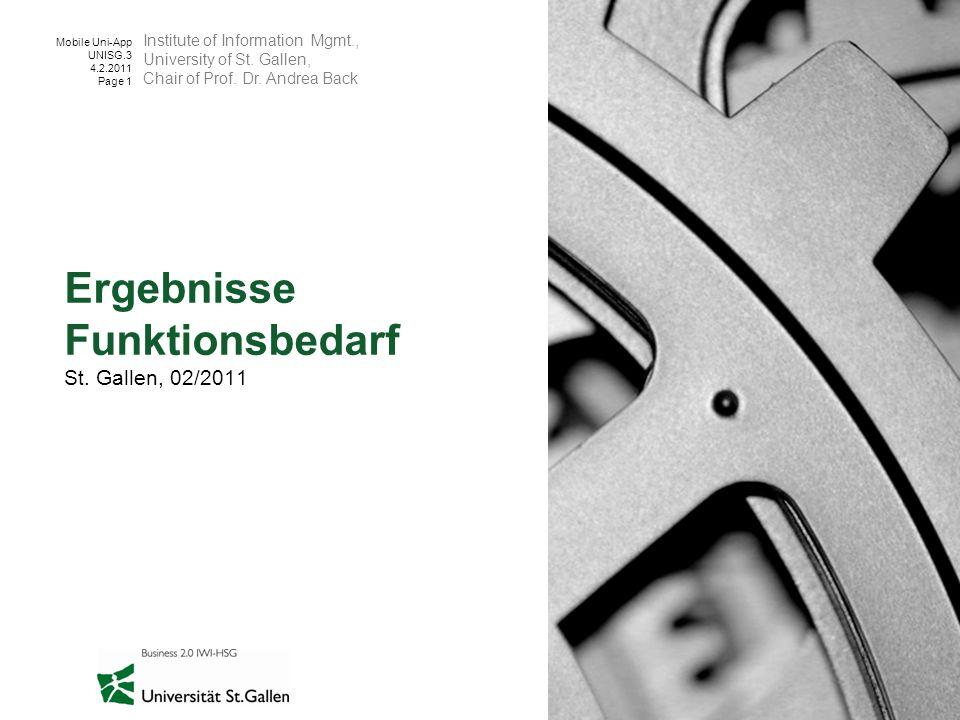 Mobile Uni-App UNISG.3 4.2.2011 Page 1 Ergebnisse Funktionsbedarf St. Gallen, 02/2011 Institute of Information Mgmt., University of St. Gallen, Chair