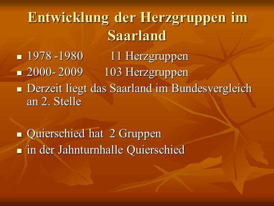 Entwicklung der Herzgruppen im Saarland 1978 -1980 11 Herzgruppen 1978 -1980 11 Herzgruppen 2000- 2009 103 Herzgruppen 2000- 2009 103 Herzgruppen Derz