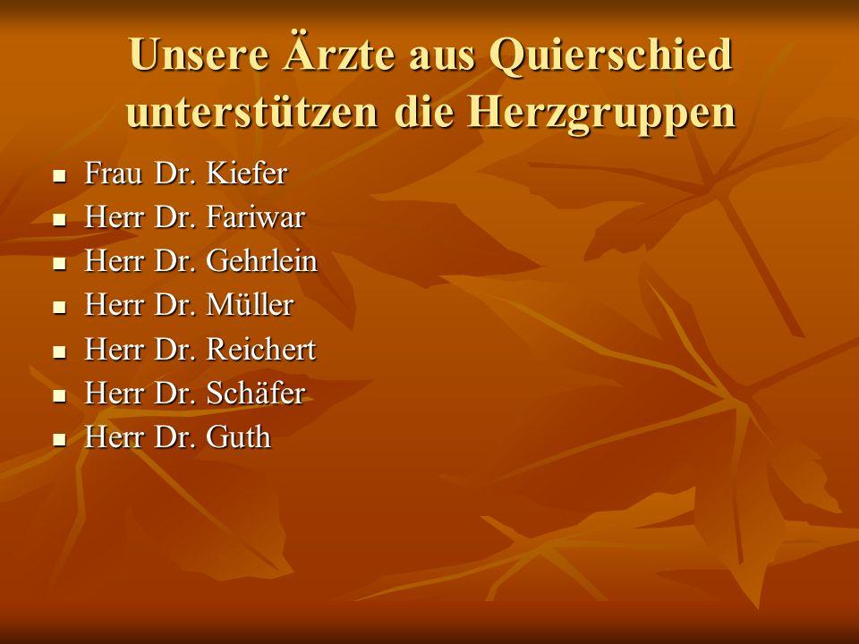 Unsere Ärzte aus Quierschied unterstützen die Herzgruppen Frau Dr. Kiefer Frau Dr. Kiefer Herr Dr. Fariwar Herr Dr. Fariwar Herr Dr. Gehrlein Herr Dr.