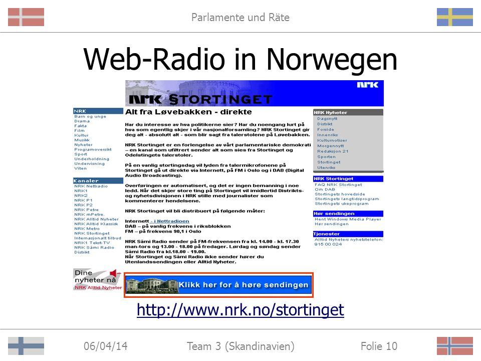 Parlamente und Räte 06/04/14 Folie 10Team 3 (Skandinavien) Web-Radio in Norwegen http://www.nrk.no/stortinget
