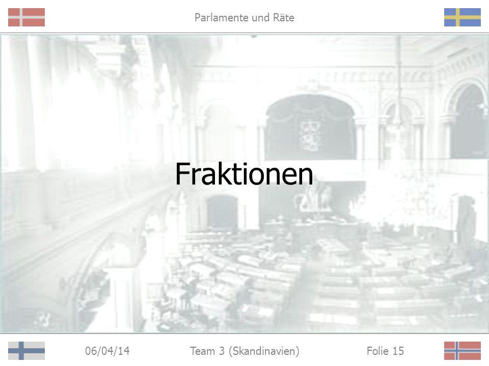 Parlamente und Räte 06/04/14 Folie 15Team 3 (Skandinavien) Fraktionen