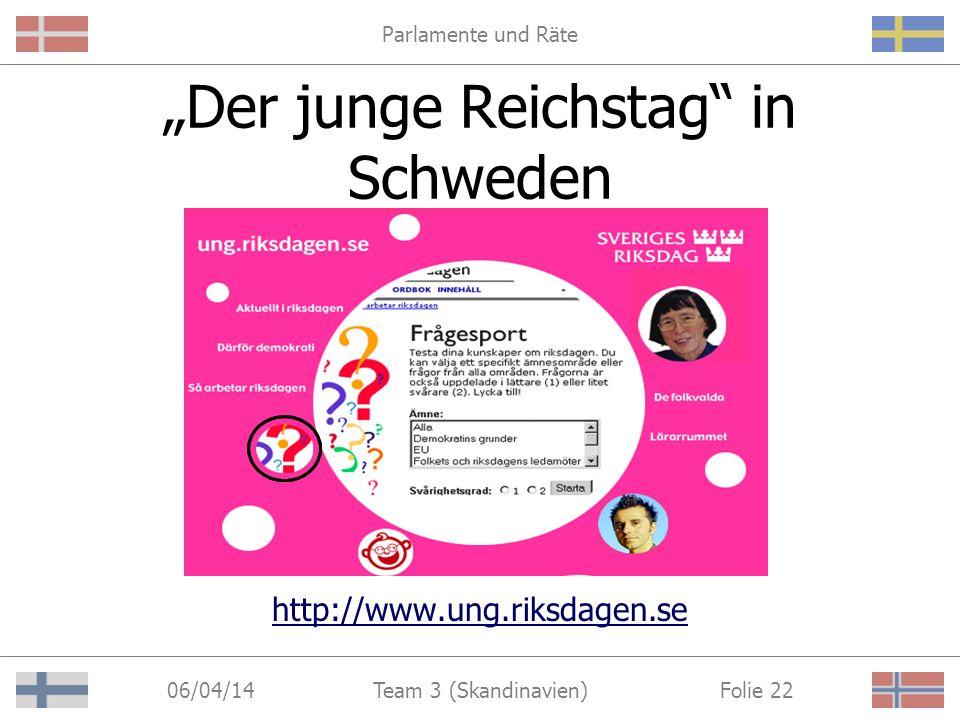 Parlamente und Räte 06/04/14 Folie 22Team 3 (Skandinavien) Der junge Reichstag in Schweden http://www.ung.riksdagen.se