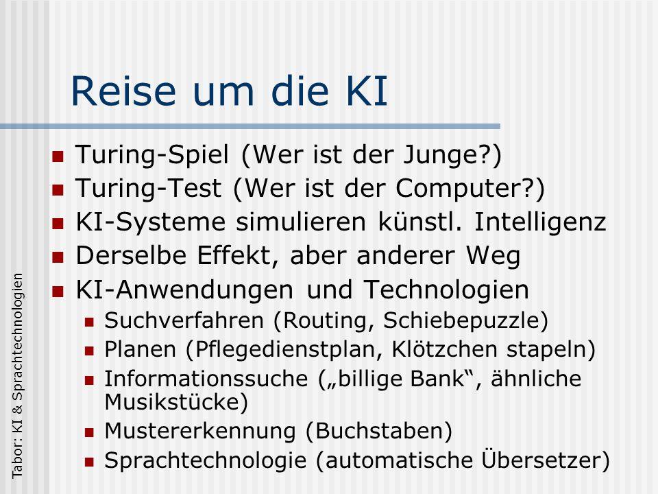 Tabor: KI & Sprachtechnologien Reise um die KI Turing-Spiel (Wer ist der Junge?) Turing-Test (Wer ist der Computer?) KI-Systeme simulieren künstl.