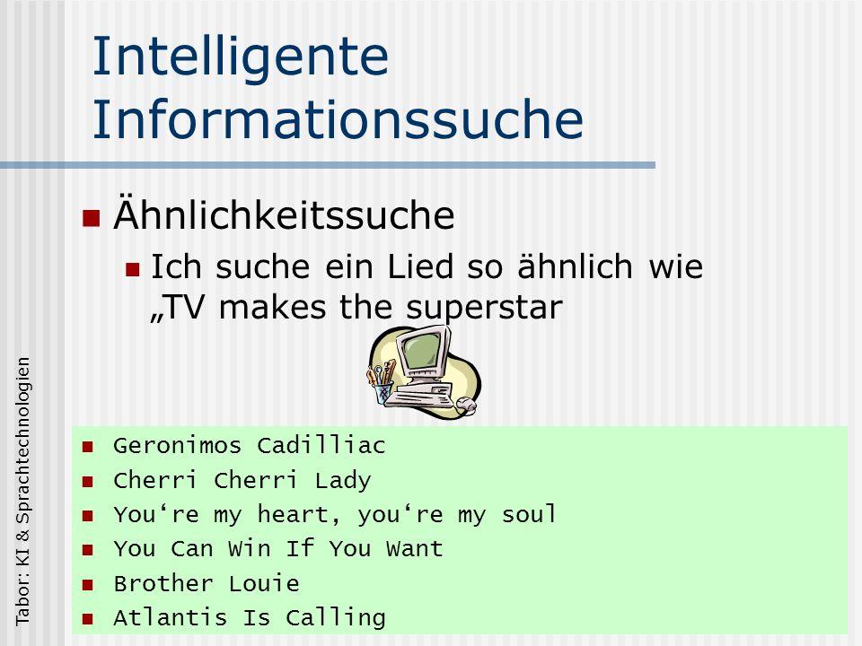Tabor: KI & Sprachtechnologien Intelligente Informationssuche Geronimos Cadilliac Cherri Cherri Lady Youre my heart, youre my soul You Can Win If You Want Brother Louie Atlantis Is Calling Ähnlichkeitssuche Ich suche ein Lied so ähnlich wie TV makes the superstar