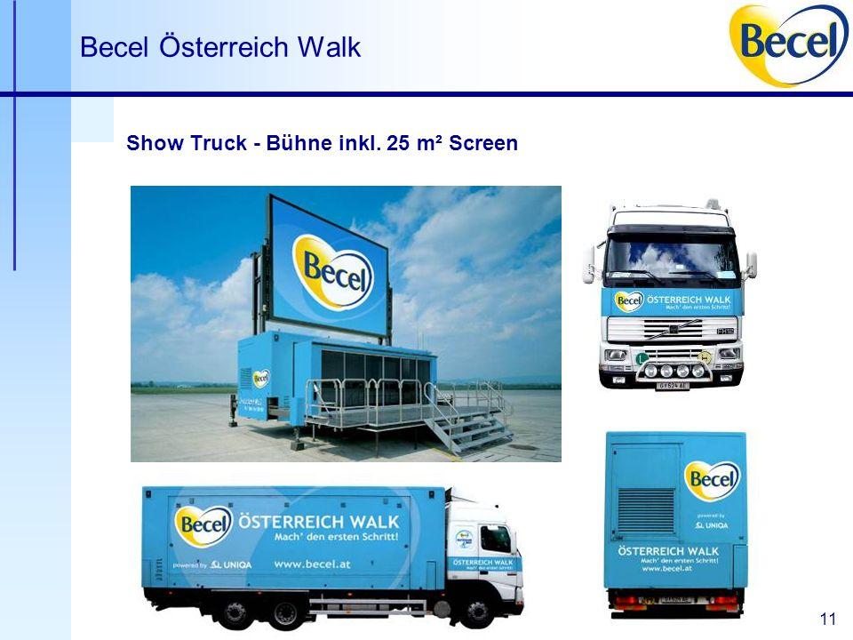 11 Becel Österreich Walk Show Truck - Bühne inkl. 25 m² Screen